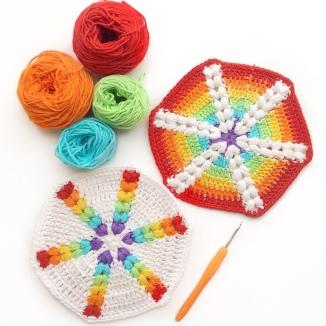Rainbow Puff Hexagon
